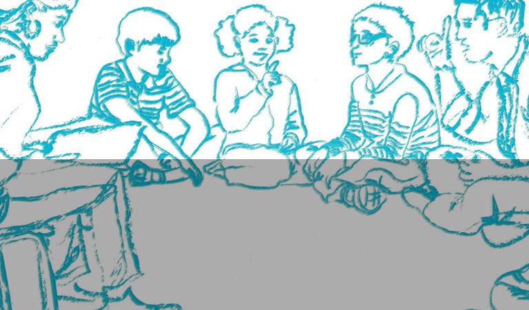 Capa do guia traz uma ilustração de uma roda de leitura composta por crianças e uma pessoa adulta