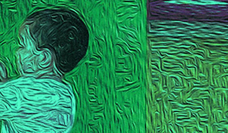 Ilustração sobre a imagem de um menino. Ele está de perfil e veste camisa branca