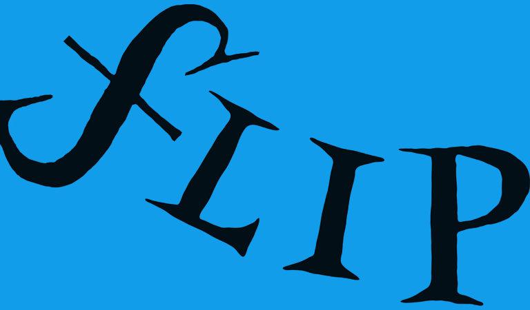 A imagem mostra a palavra Flip em letras pretas sobre um fundo azul.