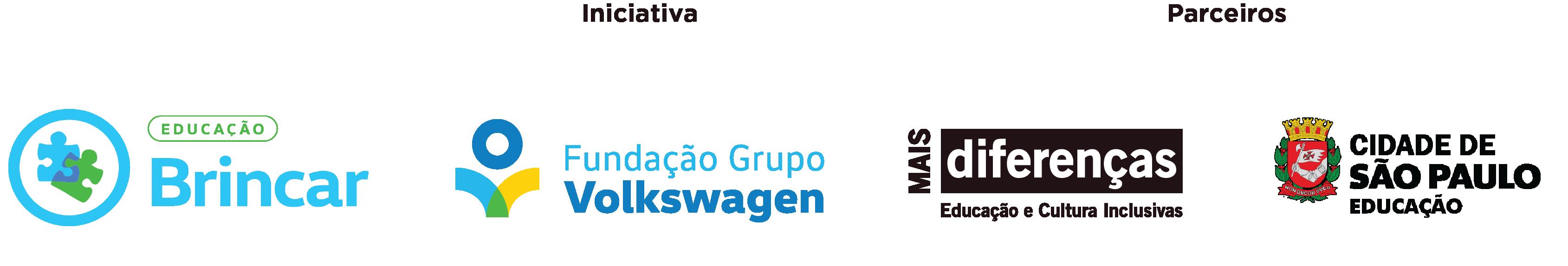 Régua de logos: Projeto Brincar. Iniciativa - Fundação Grupo Volkswagen. Parceiros - Mais Diferenças e Cidade de São Paulo, Educação