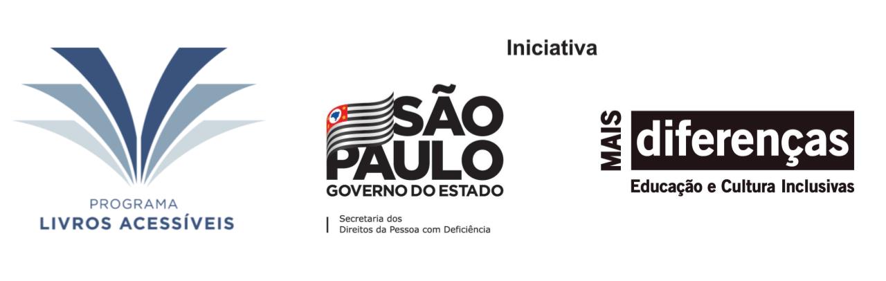 Trio de logos. Programa Livros Acessíveis. Iniciativa: Secretaria de Estado dos Direitos da Pessoa com Deficiência e Mais Diferenças - Educação e Cultura Inclusivas