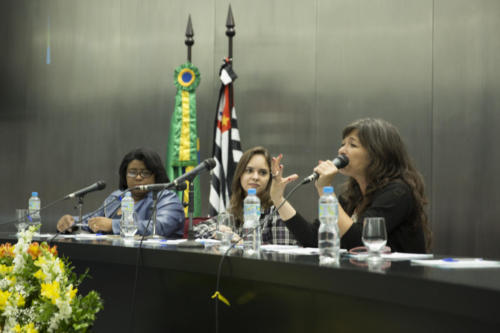 Ana Paula Masella e Danielle Figueiredo, da SME, e Carla Mauch, da MD, falaram na mesa de abertura